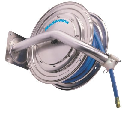 Nederman 886 Stainless Steel Water Hose Reel (Without Hose)